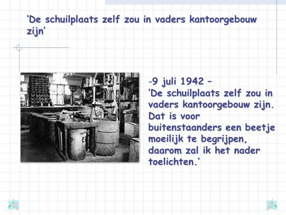 'De schuilplaats zelf zou in vaders kantoorgebouw zijn' -9 juli 1942 – 'De schuilplaats zelf zou in vaders kantoorgebouw zijn.