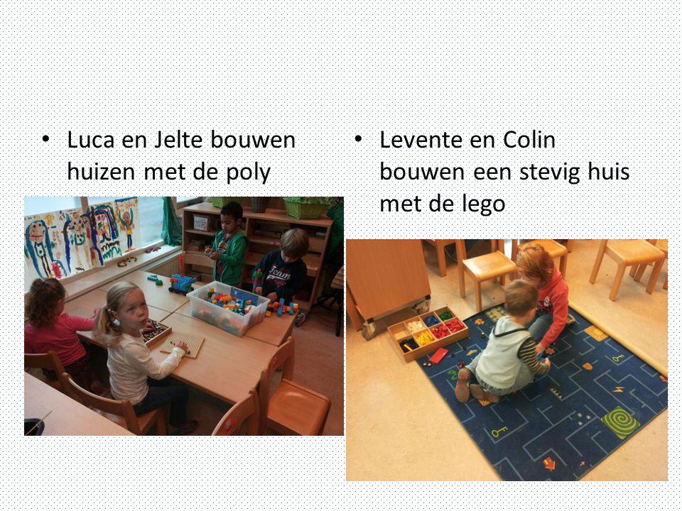 Luca en Jelte bouwen huizen met de poly Levente en Colin bouwen een stevig huis met de lego