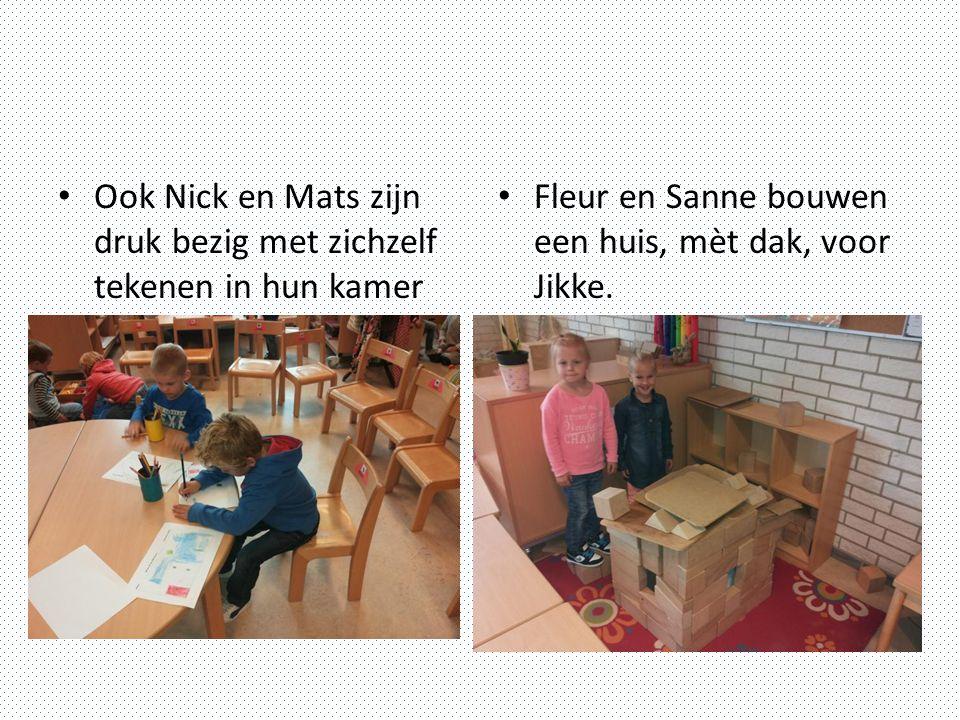 Ook Nick en Mats zijn druk bezig met zichzelf tekenen in hun kamer Fleur en Sanne bouwen een huis, mèt dak, voor Jikke.