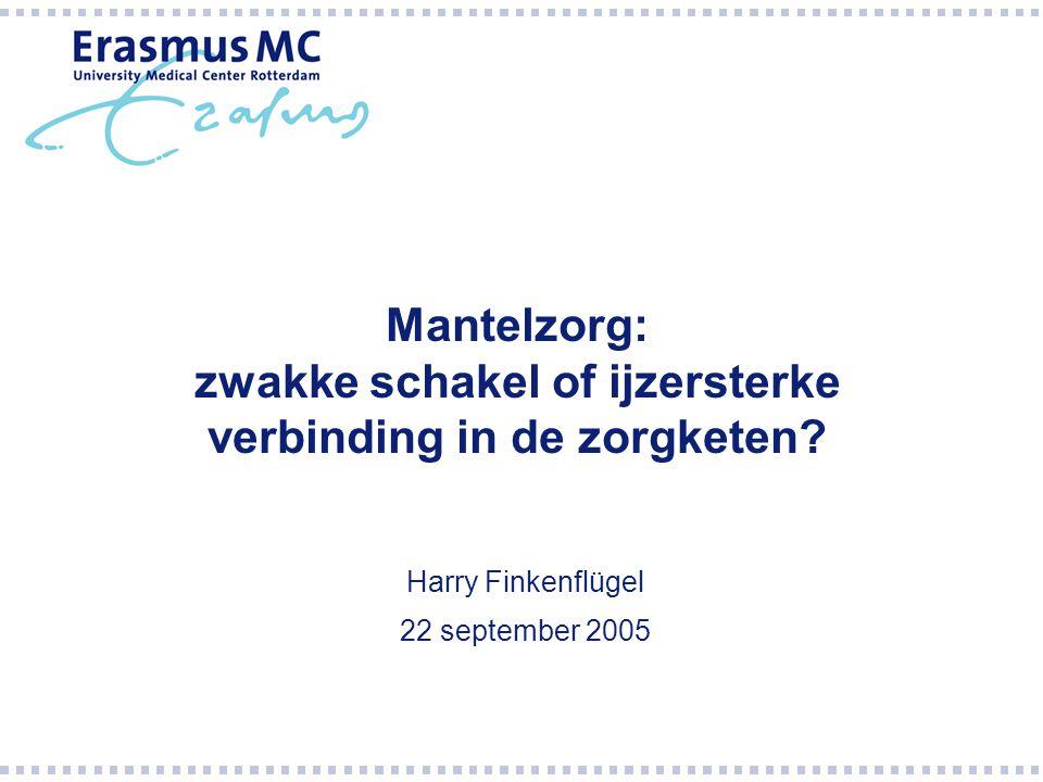 Mantelzorg: zwakke schakel of ijzersterke verbinding in de zorgketen? Harry Finkenflügel 22 september 2005