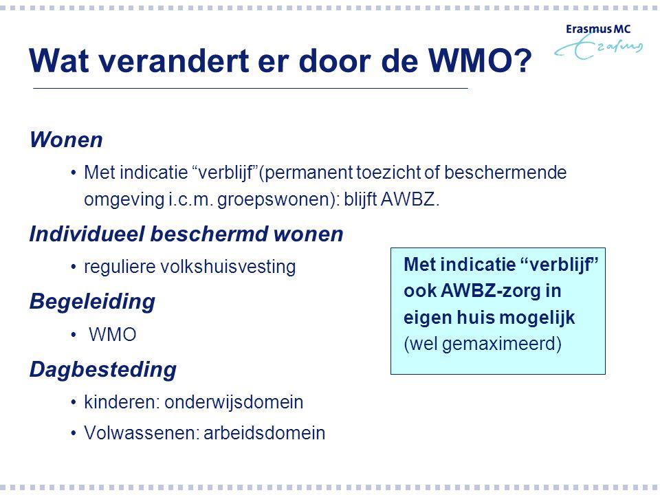 """Wat verandert er door de WMO? Wonen Met indicatie """"verblijf""""(permanent toezicht of beschermende omgeving i.c.m. groepswonen): blijft AWBZ. Individueel"""