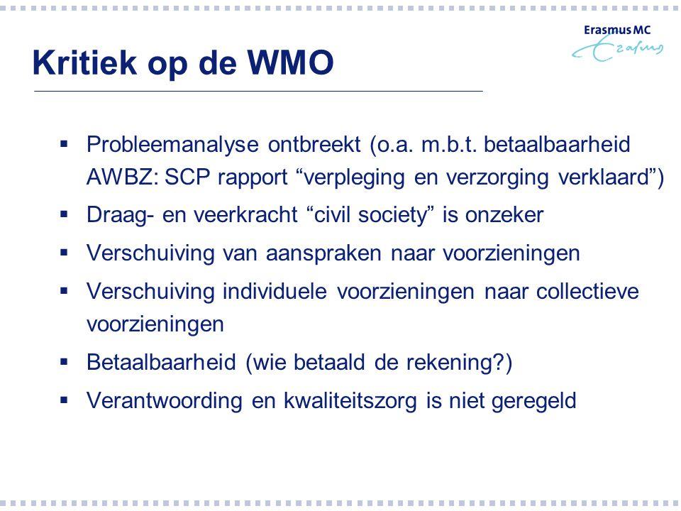 """Kritiek op de WMO  Probleemanalyse ontbreekt (o.a. m.b.t. betaalbaarheid AWBZ: SCP rapport """"verpleging en verzorging verklaard"""")  Draag- en veerkrac"""