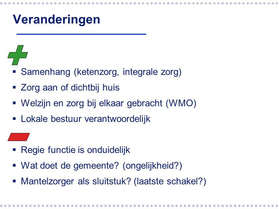 Veranderingen  Samenhang (ketenzorg, integrale zorg)  Zorg aan of dichtbij huis  Welzijn en zorg bij elkaar gebracht (WMO)  Lokale bestuur verantw