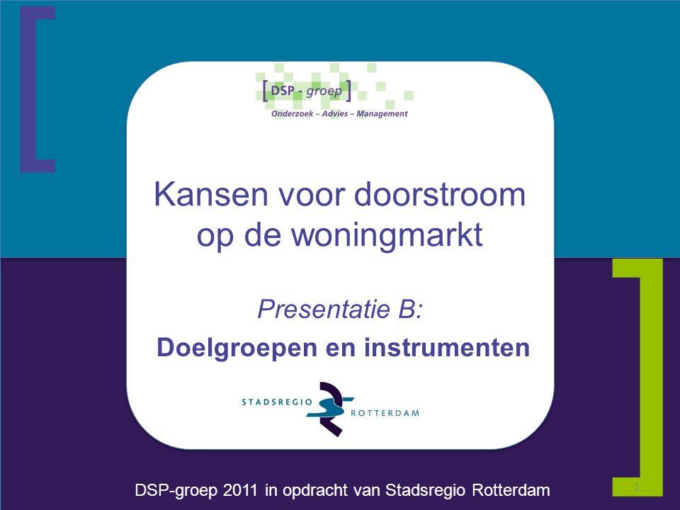 [ DSP-groep 2011 in opdracht van Stadsregio Rotterdam ] Kansen voor doorstroom op de woningmarkt Presentatie B: Doelgroepen en instrumenten 1