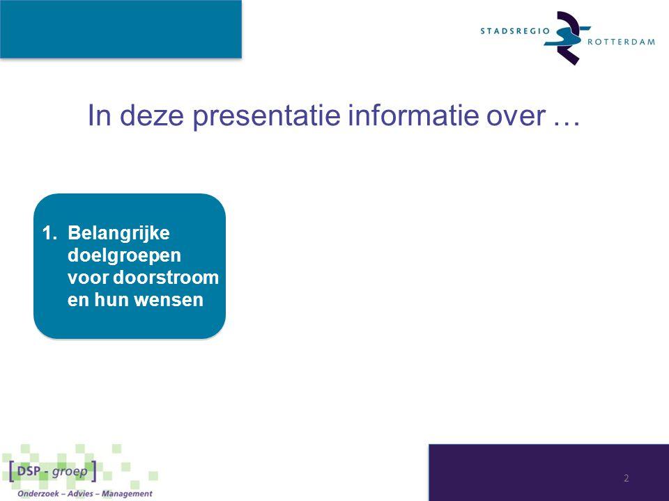 In deze presentatie informatie over … 1.Belangrijke doelgroepen voor doorstroom en hun wensen 2