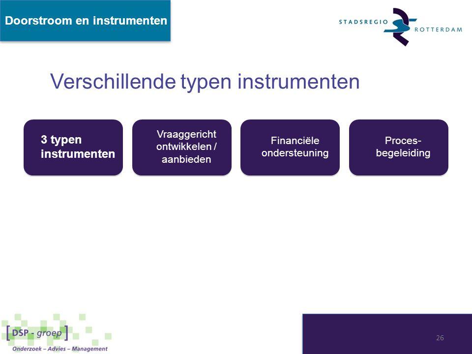 3 typen instrumenten Vraaggericht ontwikkelen / aanbieden Financiële ondersteuning Proces- begeleiding Verschillende typen instrumenten Doorstroom en