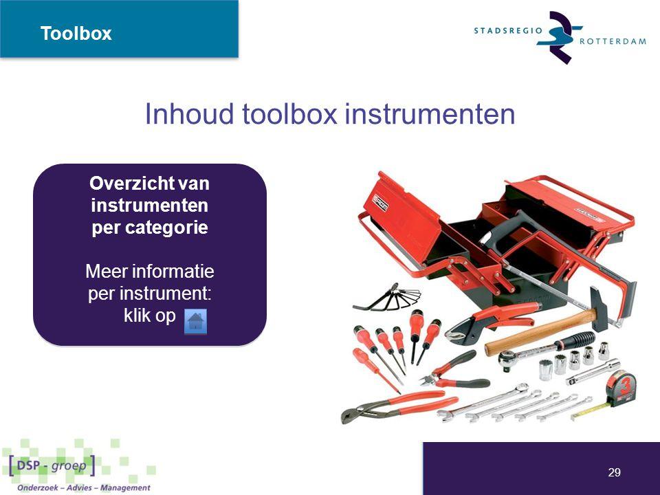 Inhoud toolbox instrumenten Overzicht van instrumenten per categorie Meer informatie per instrument: klik op Overzicht van instrumenten per categorie