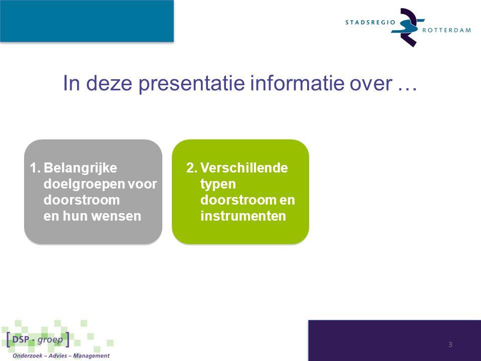 In deze presentatie informatie over … 1.Belangrijke doelgroepen voor doorstroom en hun wensen 1.Belangrijke doelgroepen voor doorstroom en hun wensen 4 2.Verschillende typen doorstroom en instrumenten 3.