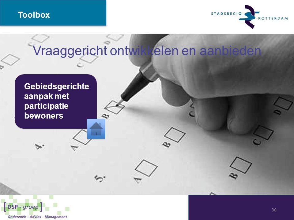 Vraaggericht ontwikkelen en aanbieden Gebiedsgerichte aanpak met participatie bewoners Toolbox 30