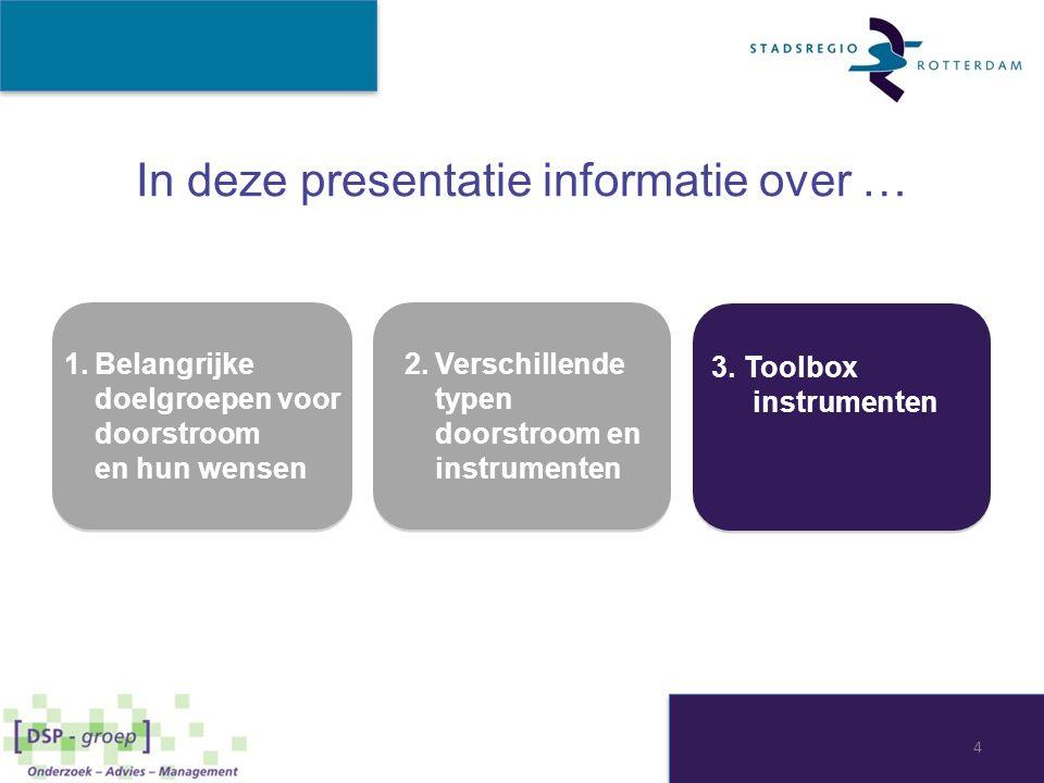 In deze presentatie informatie over … 1.Belangrijke doelgroepen voor doorstroom en hun wensen 1.Belangrijke doelgroepen voor doorstroom en hun wensen