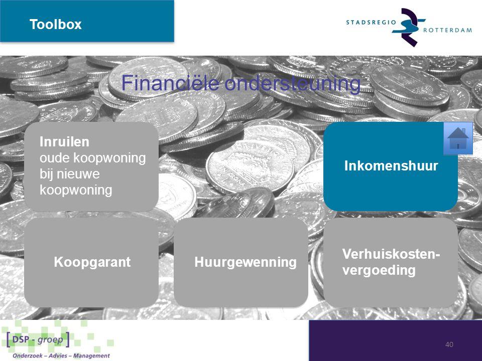 Financiële ondersteuning Toolbox Inruilen oude koopwoning bij nieuwe koopwoning Inruilen oude koopwoning bij nieuwe koopwoning Inkomenshuur Huurgewenn