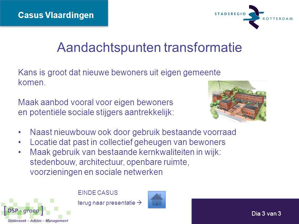 Aandachtspunten transformatie Kans is groot dat nieuwe bewoners uit eigen gemeente komen. Maak aanbod vooral voor eigen bewoners en potentiële sociale