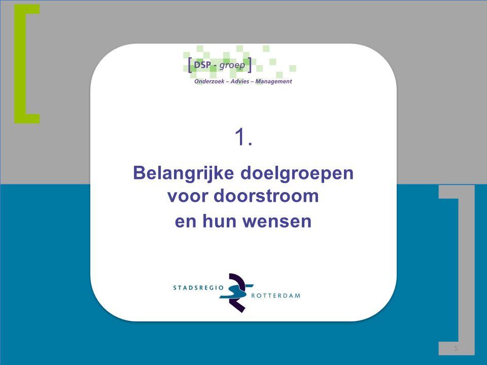 Belangrijke doelgroepen voor doorstroom: afhankelijk van lokale situatie Doelgroepen en wensen 6