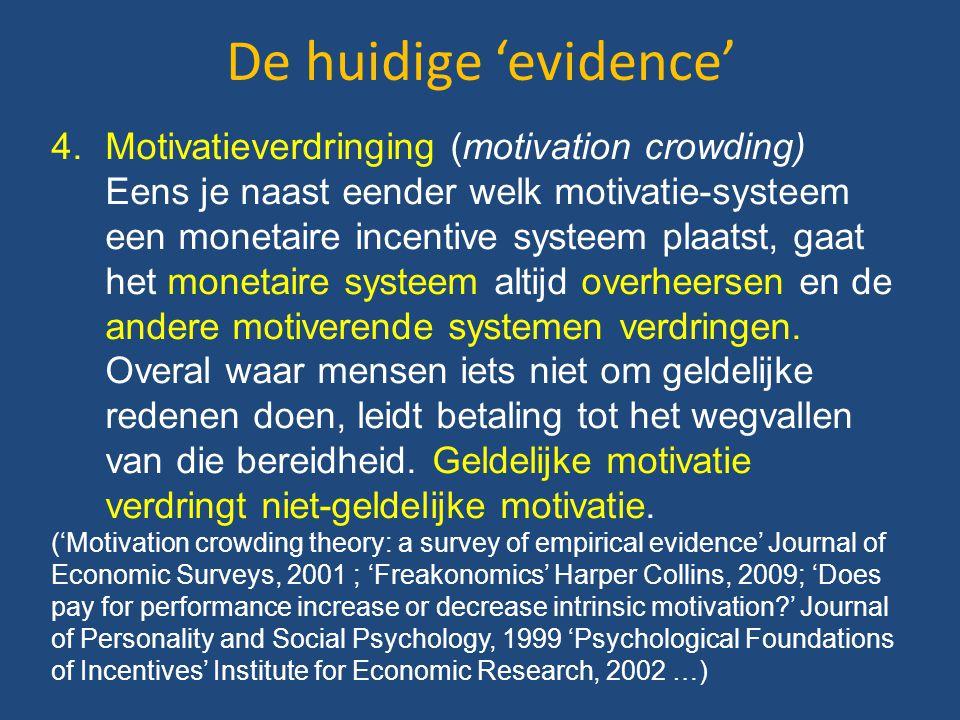 De huidige 'evidence' 4.Motivatieverdringing (motivation crowding) Eens je naast eender welk motivatie-systeem een monetaire incentive systeem plaatst, gaat het monetaire systeem altijd overheersen en de andere motiverende systemen verdringen.