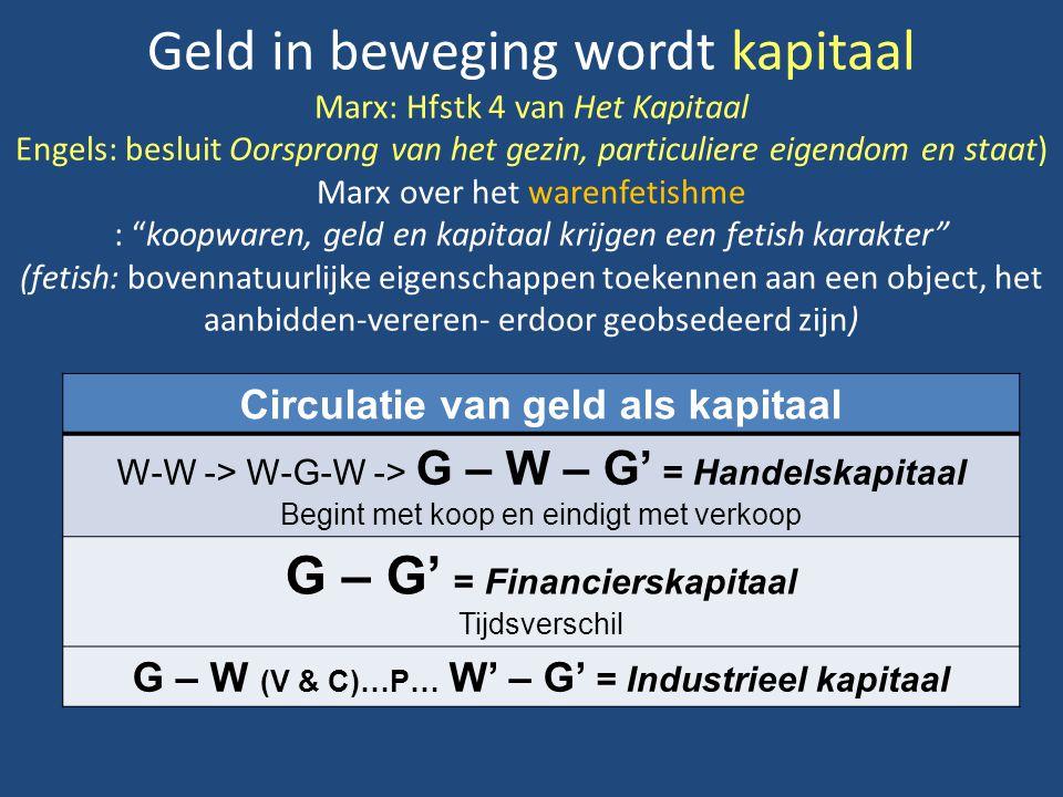 Geld in beweging wordt kapitaal Marx: Hfstk 4 van Het Kapitaal Engels: besluit Oorsprong van het gezin, particuliere eigendom en staat) Marx over het warenfetishme : koopwaren, geld en kapitaal krijgen een fetish karakter (fetish: bovennatuurlijke eigenschappen toekennen aan een object, het aanbidden-vereren- erdoor geobsedeerd zijn) Circulatie van geld als kapitaal W-W -> W-G-W -> G – W – G' = Handelskapitaal Begint met koop en eindigt met verkoop G – G' = Financierskapitaal Tijdsverschil G – W (V & C)…P… W' – G' = Industrieel kapitaal