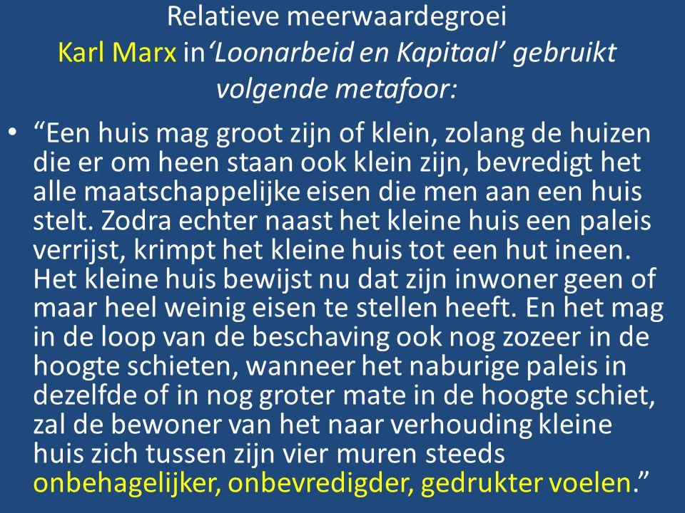 Relatieve meerwaardegroei Karl Marx in'Loonarbeid en Kapitaal' gebruikt volgende metafoor: Een huis mag groot zijn of klein, zolang de huizen die er om heen staan ook klein zijn, bevredigt het alle maatschappelijke eisen die men aan een huis stelt.