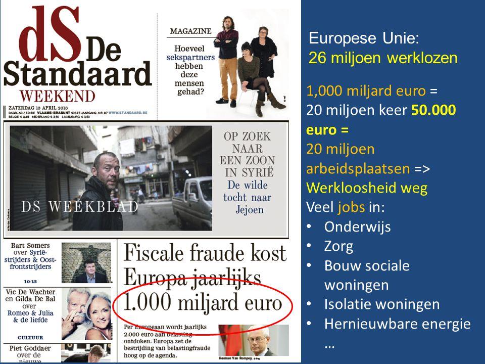 Europese Unie: 26 miljoen werklozen 1,000 miljard euro = 20 miljoen keer 50.000 euro = 20 miljoen arbeidsplaatsen => Werkloosheid weg Veel jobs in: Onderwijs Zorg Bouw sociale woningen Isolatie woningen Hernieuwbare energie …