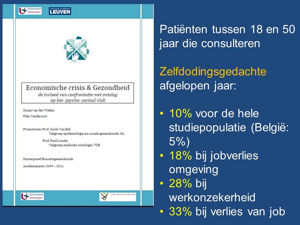 Patiënten tussen 18 en 50 jaar die consulteren Zelfdodingsgedachte afgelopen jaar: 10% voor de hele studiepopulatie (België: 5%) 18% bij jobverlies omgeving 28% bij werkonzekerheid 33% bij verlies van job