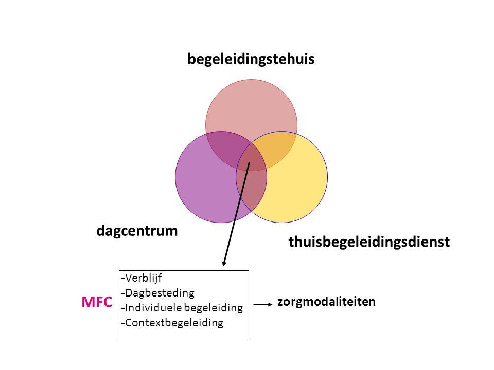 begeleidingstehuis thuisbegeleidingsdienst dagcentrum - Verblijf - Dagbesteding - Individuele begeleiding - Contextbegeleiding MFC zorgmodaliteiten