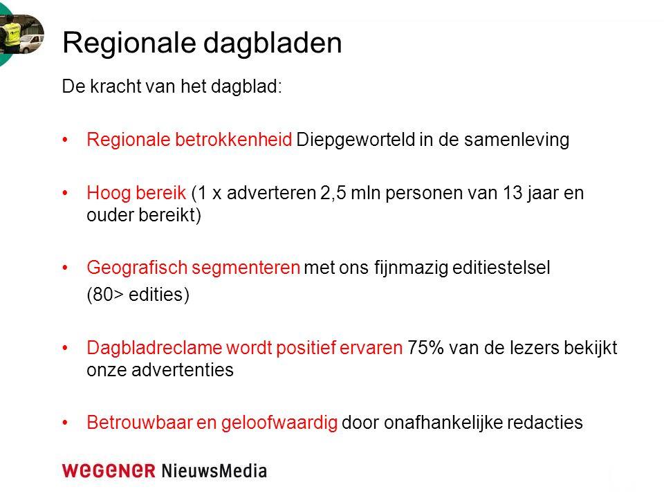Regionale dagbladen De kracht van het dagblad: Regionale betrokkenheid Diepgeworteld in de samenleving Hoog bereik (1 x adverteren 2,5 mln personen va