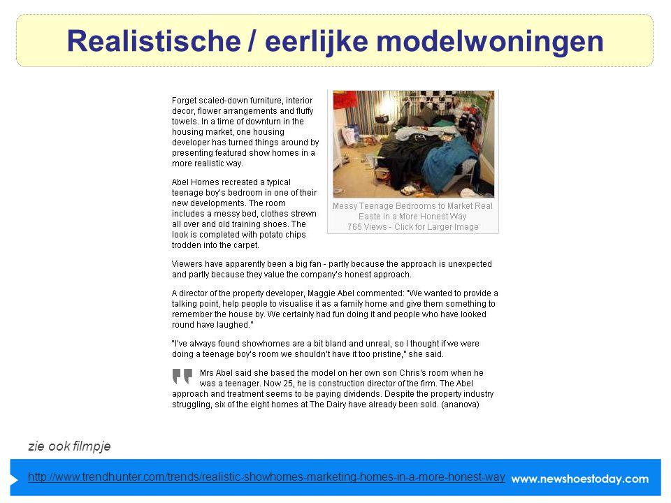 Realistische / eerlijke modelwoningen http://www.trendhunter.com/trends/realistic-showhomes-marketing-homes-in-a-more-honest-way zie ook filmpje