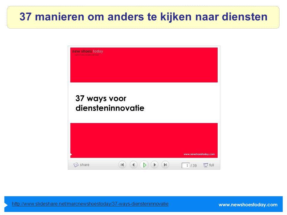 37 manieren om anders te kijken naar diensten http://www.slideshare.net/marcnewshoestoday/37-ways-diensteninnovatie