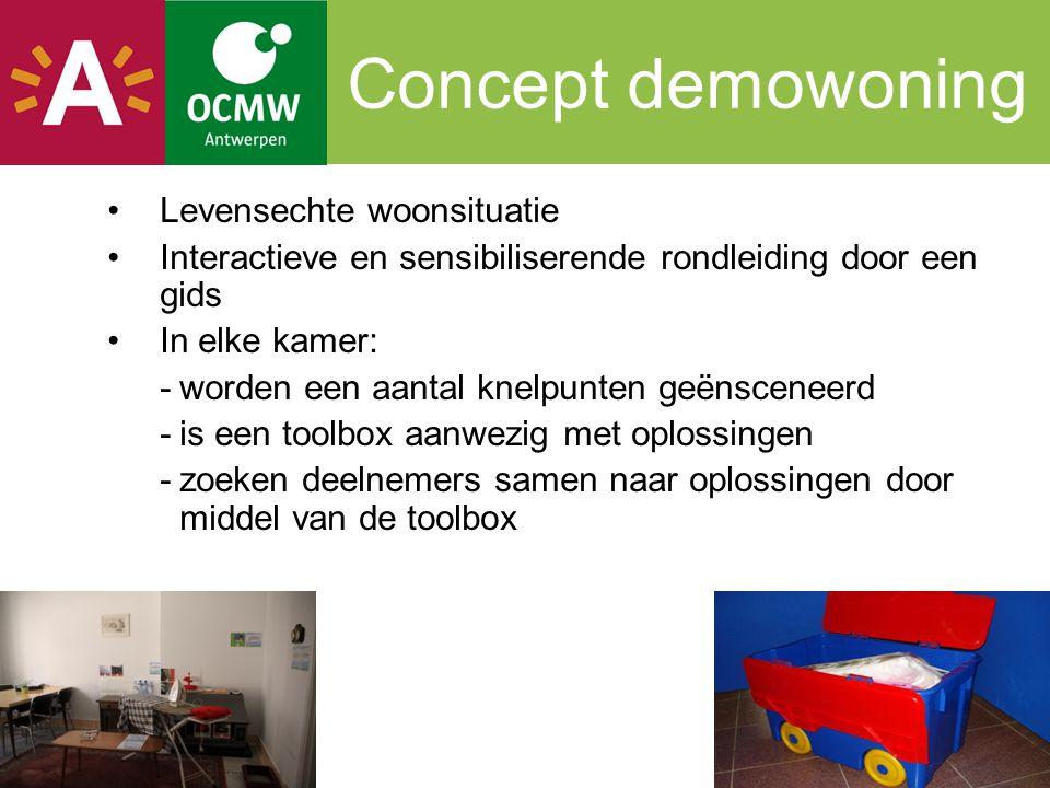 Concept demowoning Levensechte woonsituatie Interactieve en sensibiliserende rondleiding door een gids In elke kamer: -worden een aantal knelpunten ge