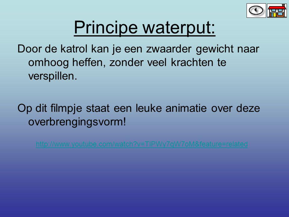 Principe waterput: Door de katrol kan je een zwaarder gewicht naar omhoog heffen, zonder veel krachten te verspillen. Op dit filmpje staat een leuke a