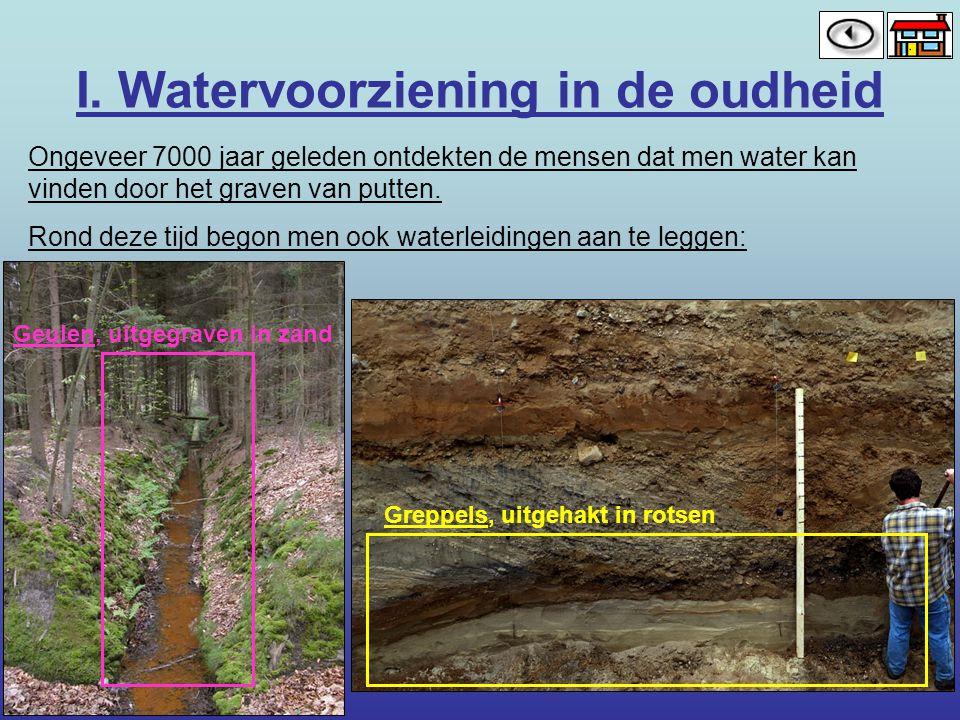 I. Watervoorziening in de oudheid Ongeveer 7000 jaar geleden ontdekten de mensen dat men water kan vinden door het graven van putten. Rond deze tijd b