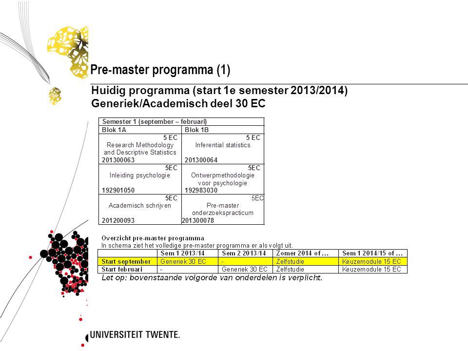 Pre-master programma (1) Huidig programma (start 1e semester 2013/2014) Generiek/Academisch deel 30 EC