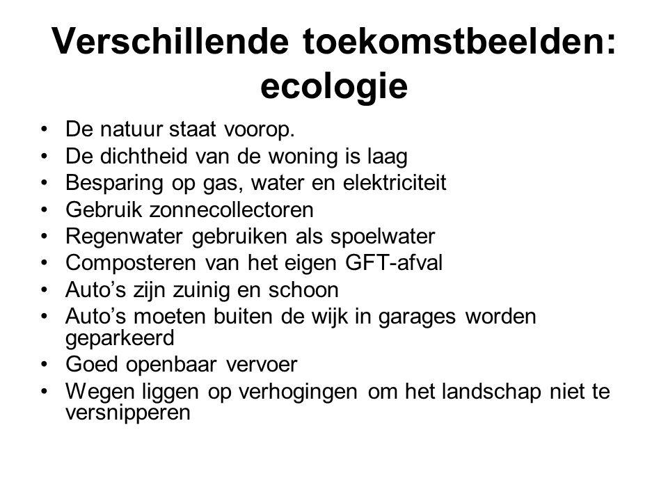 Verschillende toekomstbeelden: ecologie De natuur staat voorop. De dichtheid van de woning is laag Besparing op gas, water en elektriciteit Gebruik zo
