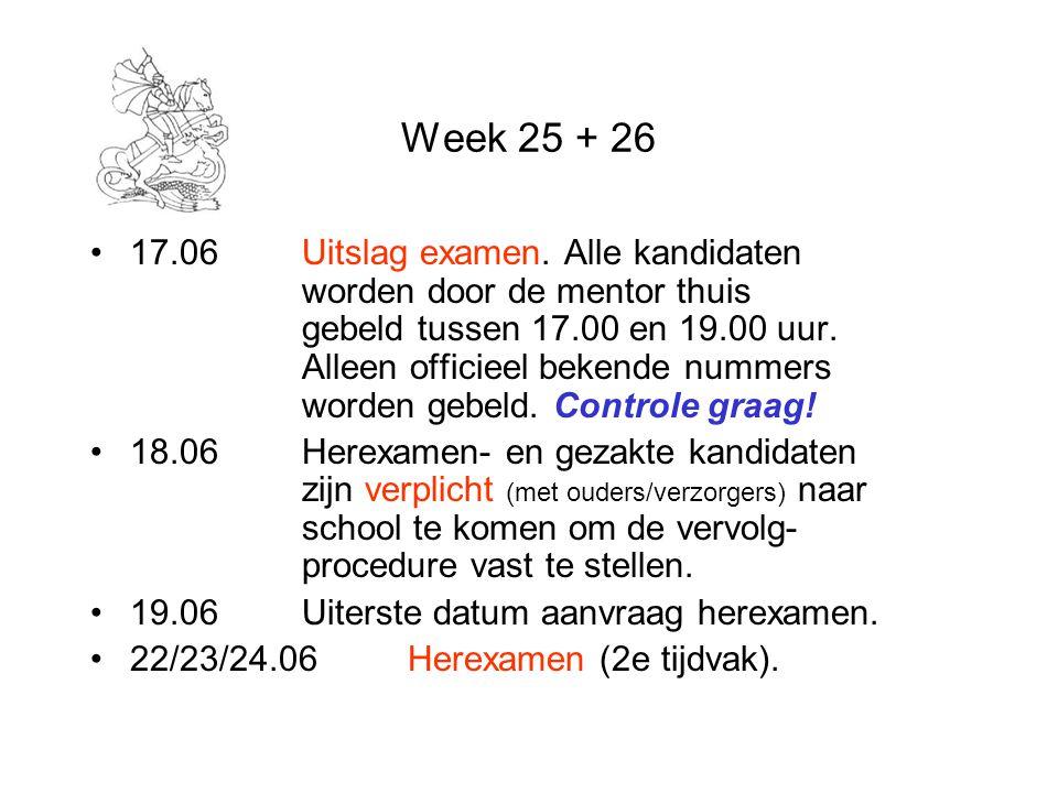 Week 25 + 26 17.06Uitslag examen.