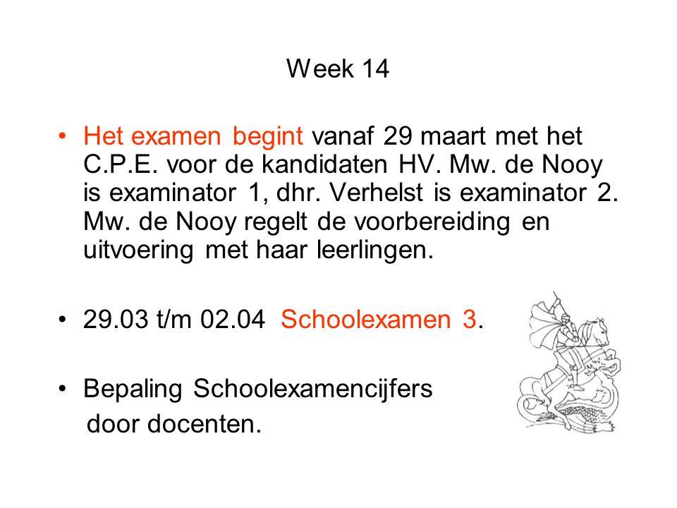 Week 14 Het examen begint vanaf 29 maart met het C.P.E. voor de kandidaten HV. Mw. de Nooy is examinator 1, dhr. Verhelst is examinator 2. Mw. de Nooy