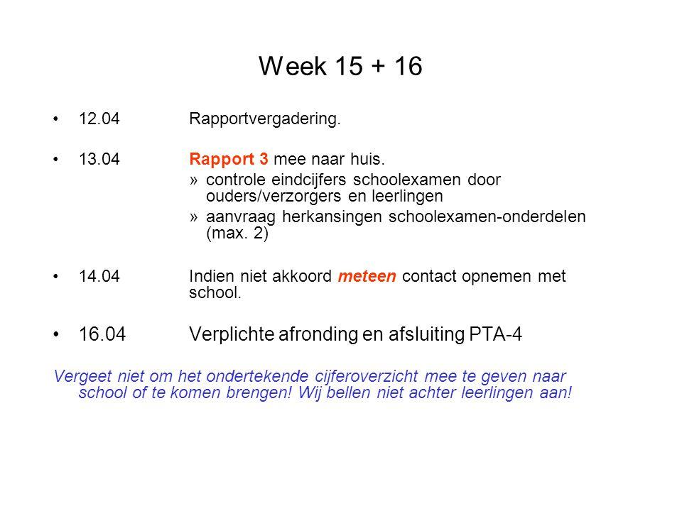 Week 15 + 16 12.04Rapportvergadering. 13.04Rapport 3 mee naar huis. »controle eindcijfers schoolexamen door ouders/verzorgers en leerlingen »aanvraag