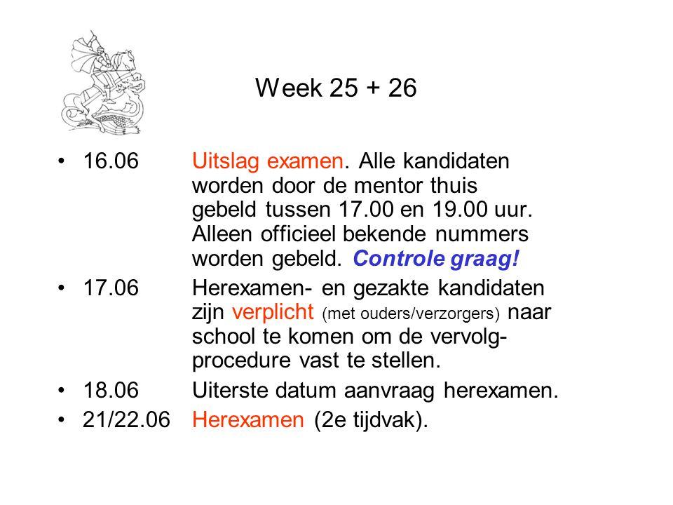 Week 25 + 26 16.06Uitslag examen. Alle kandidaten worden door de mentor thuis gebeld tussen 17.00 en 19.00 uur. Alleen officieel bekende nummers worde