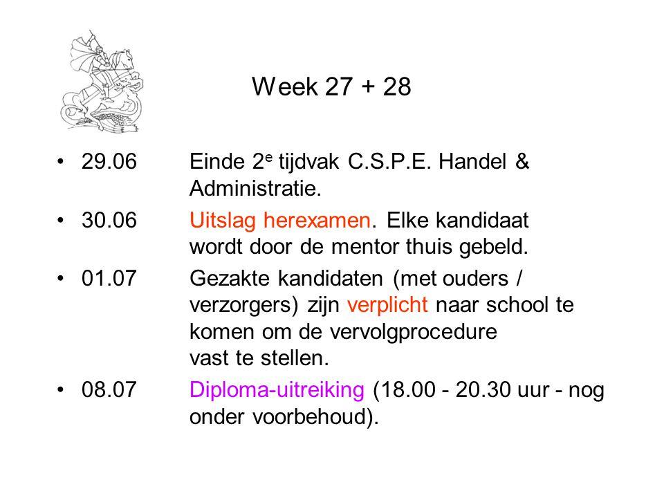 Week 27 + 28 29.06Einde 2 e tijdvak C.S.P.E. Handel & Administratie. 30.06Uitslag herexamen. Elke kandidaat wordt door de mentor thuis gebeld. 01.07Ge