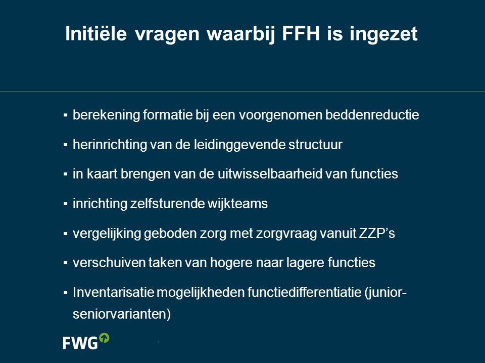 Initiële vragen waarbij FFH is ingezet ▪ berekening formatie bij een voorgenomen beddenreductie ▪ herinrichting van de leidinggevende structuur ▪ in k