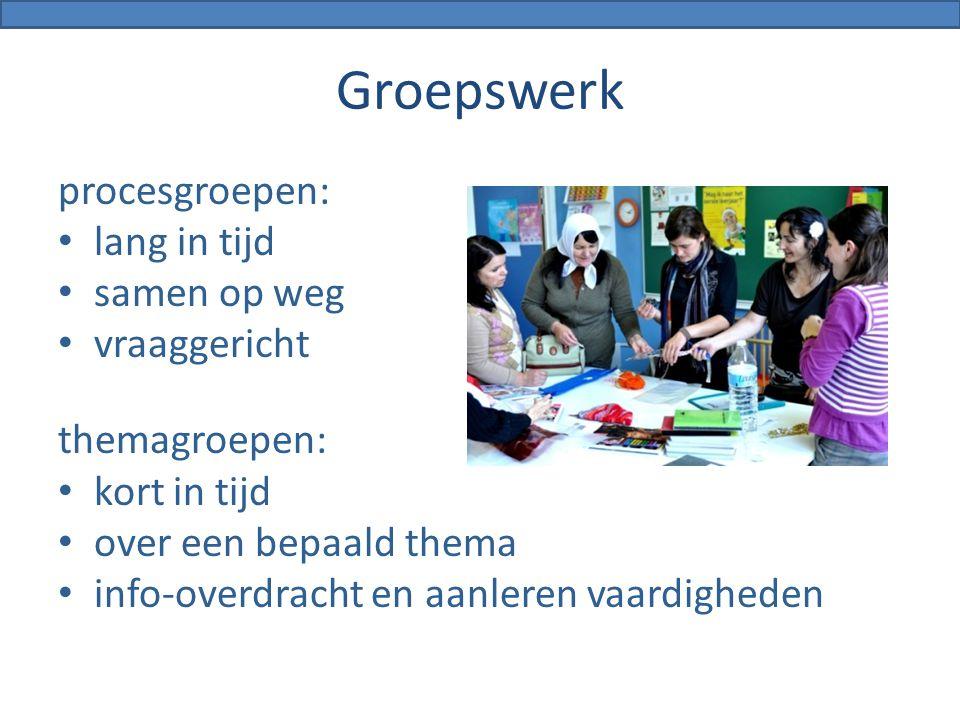 Groepswerk procesgroepen: lang in tijd samen op weg vraaggericht themagroepen: kort in tijd over een bepaald thema info-overdracht en aanleren vaardig