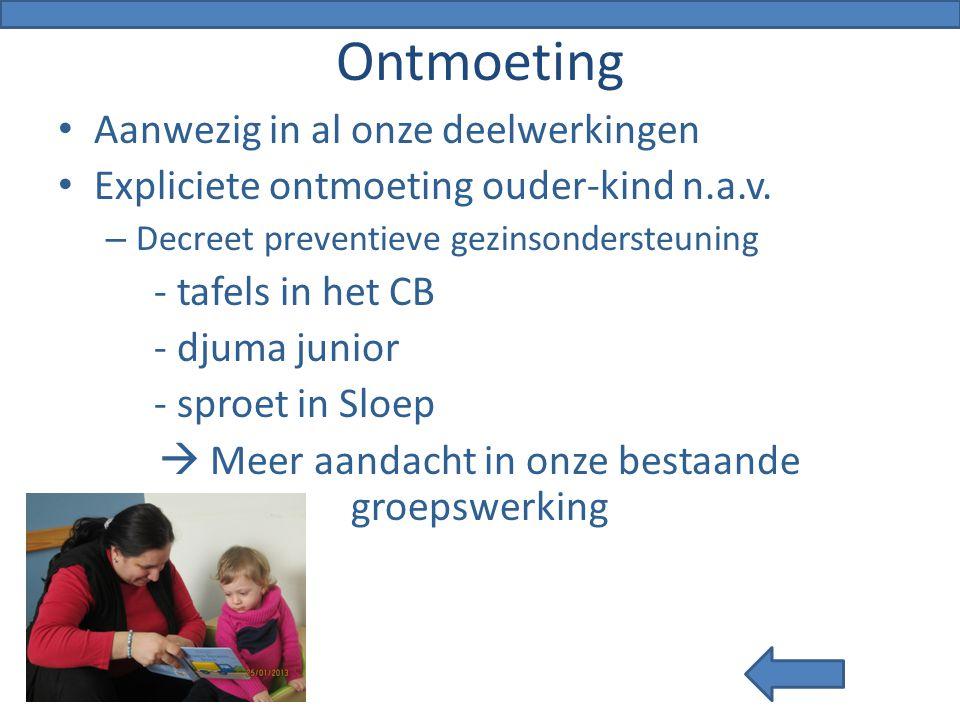 Ontmoeting Aanwezig in al onze deelwerkingen Expliciete ontmoeting ouder-kind n.a.v. – Decreet preventieve gezinsondersteuning - tafels in het CB - dj