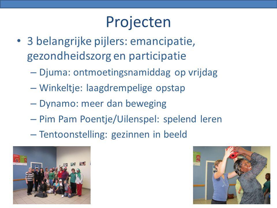 Projecten 3 belangrijke pijlers: emancipatie, gezondheidszorg en participatie – Djuma: ontmoetingsnamiddag op vrijdag – Winkeltje: laagdrempelige opst
