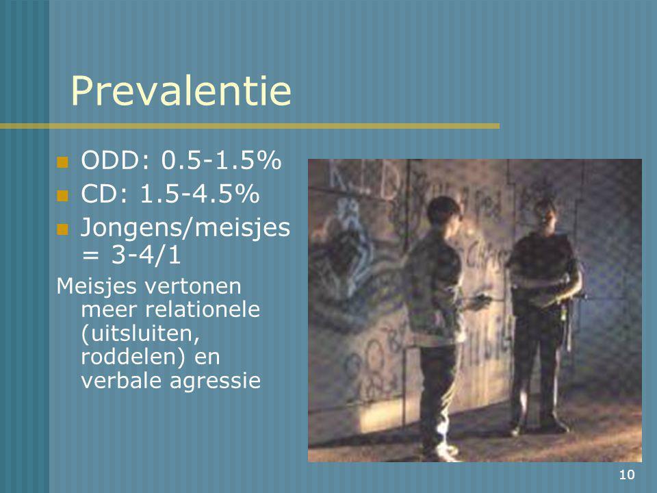 10 Prevalentie ODD: 0.5-1.5% CD: 1.5-4.5% Jongens/meisjes = 3-4/1 Meisjes vertonen meer relationele (uitsluiten, roddelen) en verbale agressie