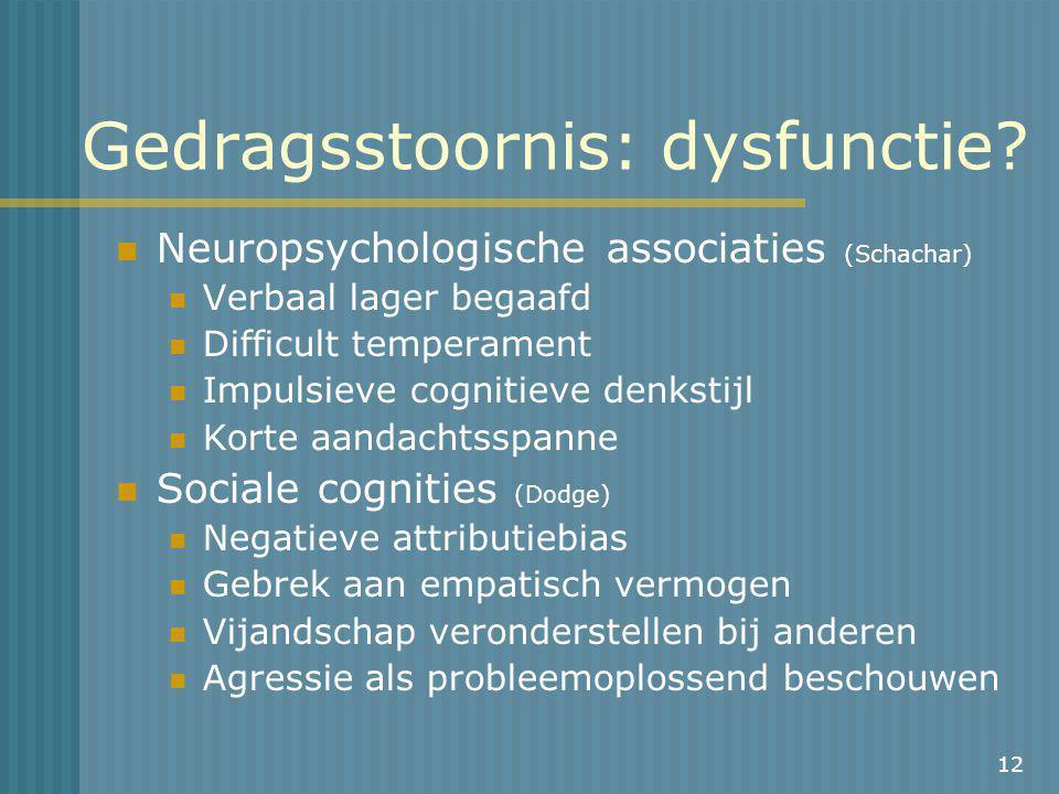 12 Gedragsstoornis: dysfunctie.