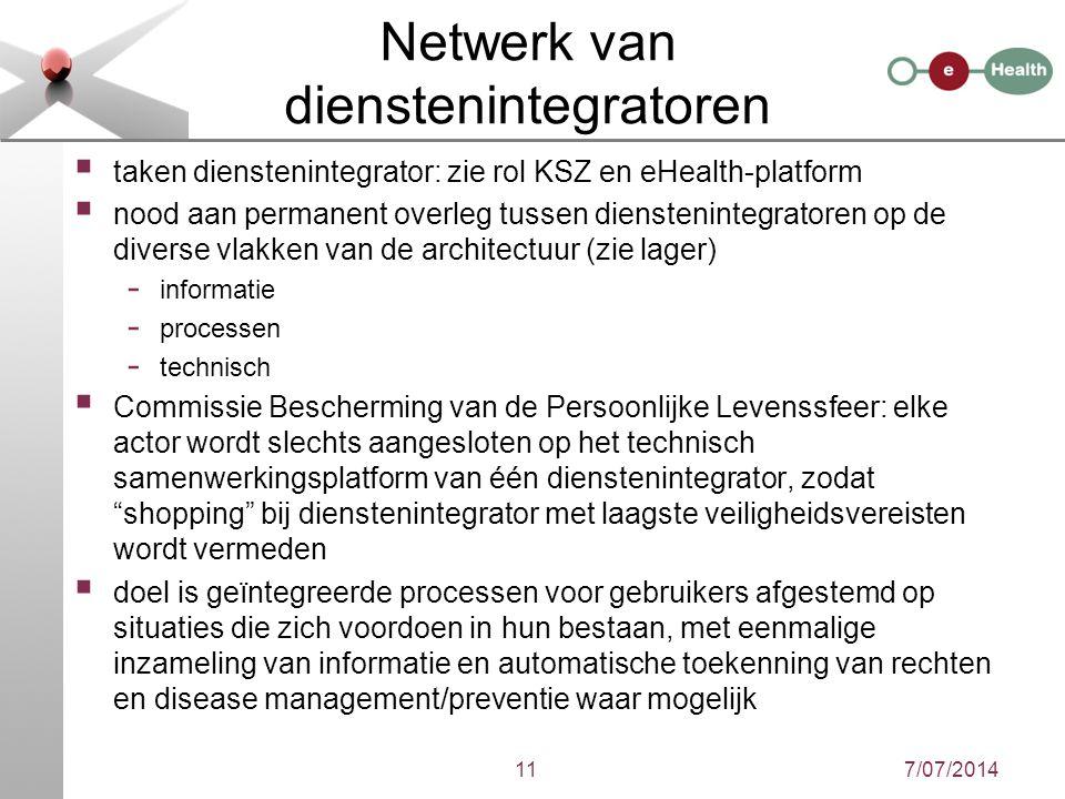 Netwerk van dienstenintegratoren  taken dienstenintegrator: zie rol KSZ en eHealth-platform  nood aan permanent overleg tussen dienstenintegratoren