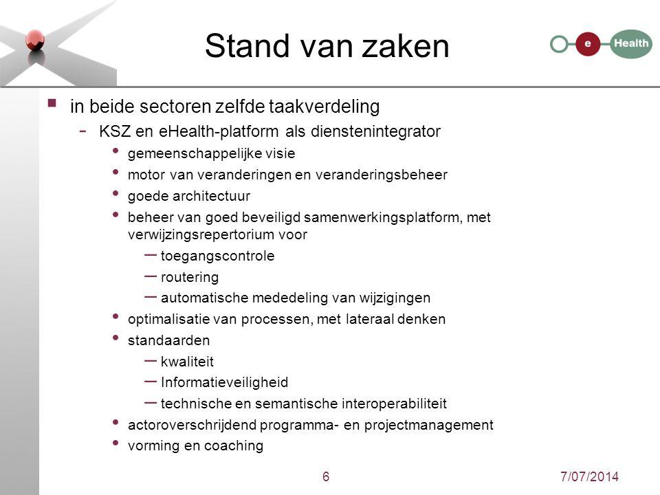 6 Stand van zaken  in beide sectoren zelfde taakverdeling - KSZ en eHealth-platform als dienstenintegrator gemeenschappelijke visie motor van verande