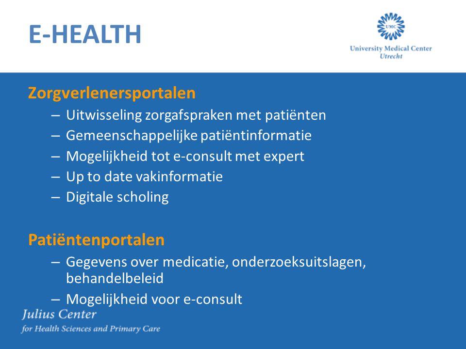 E-HEALTH Zorgverlenersportalen – Uitwisseling zorgafspraken met patiënten – Gemeenschappelijke patiëntinformatie – Mogelijkheid tot e-consult met expe