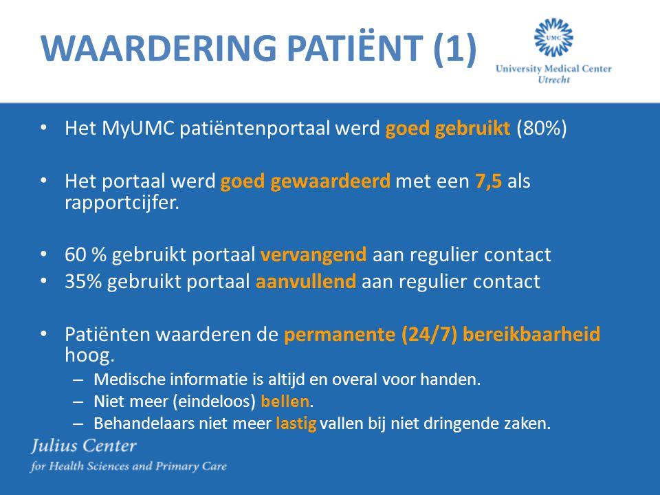 WAARDERING PATIËNT (1) Het MyUMC patiëntenportaal werd goed gebruikt (80%) Het portaal werd goed gewaardeerd met een 7,5 als rapportcijfer. 60 % gebru