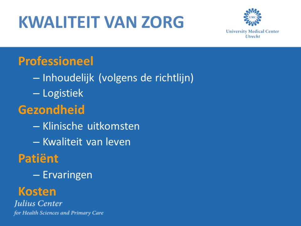 KWALITEIT VAN ZORG Professioneel – Inhoudelijk (volgens de richtlijn) – Logistiek Gezondheid – Klinische uitkomsten – Kwaliteit van leven Patiënt – Ervaringen Kosten