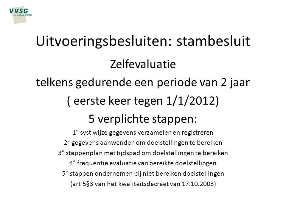 Uitvoeringsbesluiten: stambesluit Zelfevaluatie telkens gedurende een periode van 2 jaar ( eerste keer tegen 1/1/2012) 5 verplichte stappen: 1° syst w