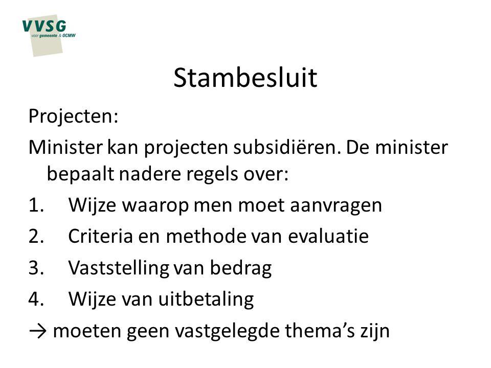 Stambesluit Projecten: Minister kan projecten subsidiëren. De minister bepaalt nadere regels over: 1.Wijze waarop men moet aanvragen 2.Criteria en met