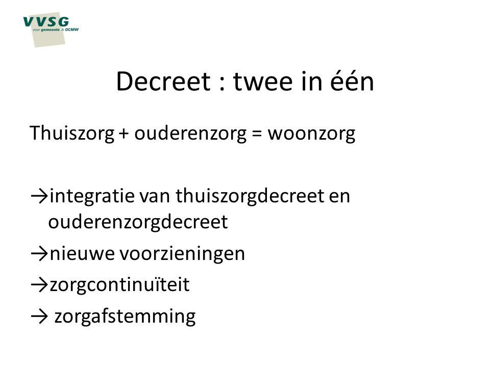 Decreet : twee in één Thuiszorg + ouderenzorg = woonzorg →integratie van thuiszorgdecreet en ouderenzorgdecreet →nieuwe voorzieningen →zorgcontinuïtei